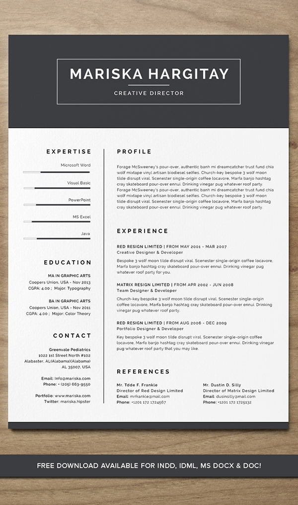 High End FREE Resume CV for Word + INDD on Behance