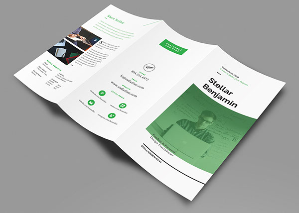 Stellar Tri-fold Resume CV on Behance - Tri Fold Resume