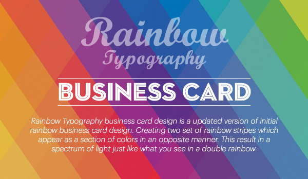 Rainbow typography business card on Behance