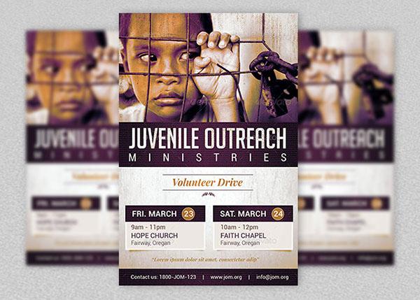 Juvenile Outreach Church Flyer Template on Behance