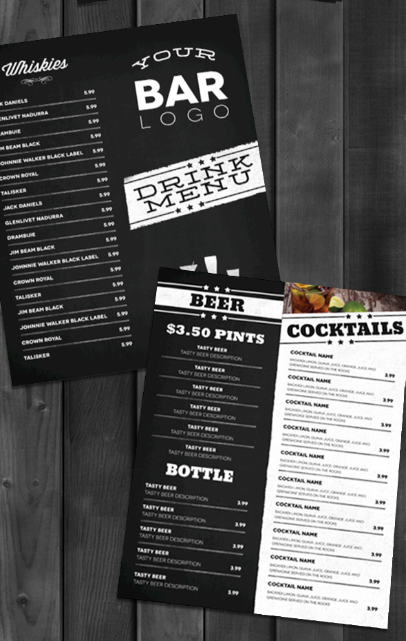 Lounge Bar Drink Menu (Modern) on Behance