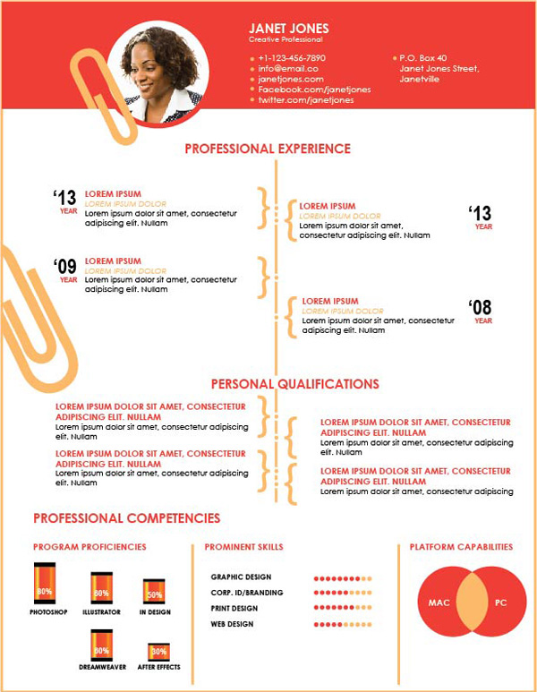 template cv illustrator simple