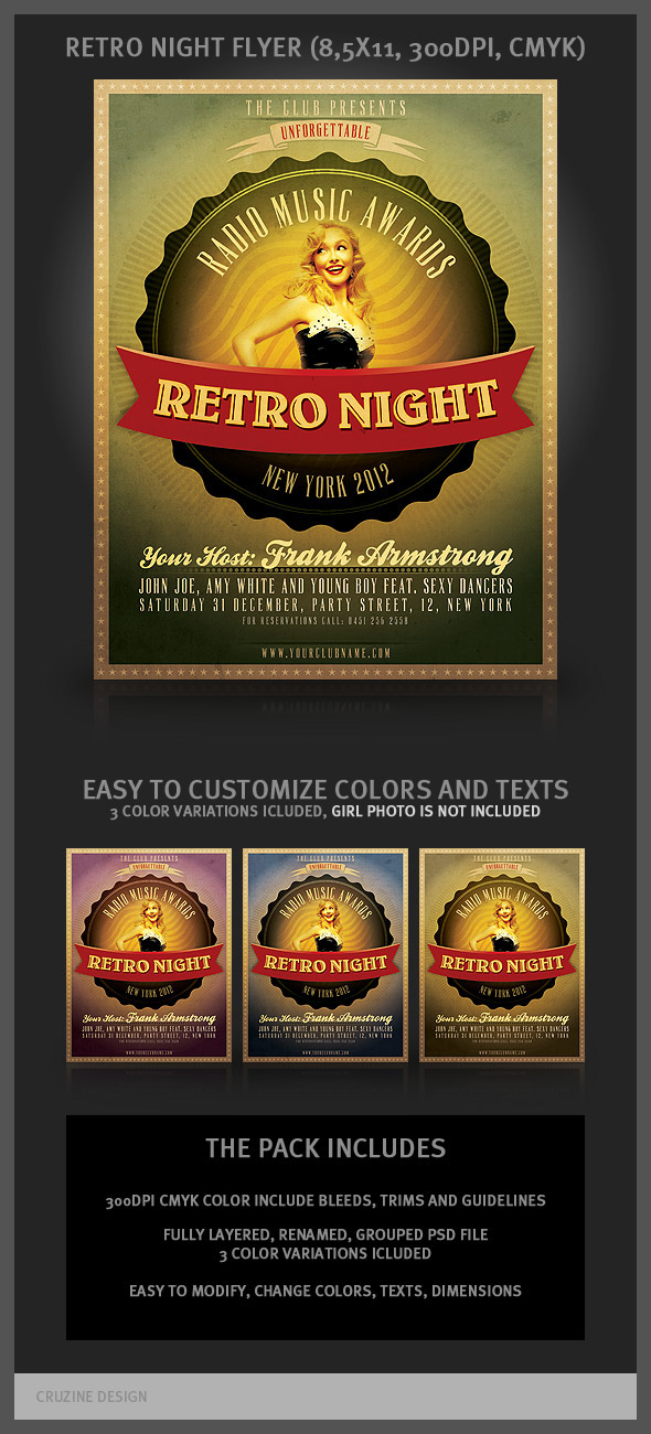 Retro Night Flyer Template on Behance
