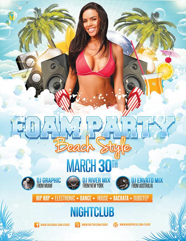 Foam Party - Flyer Template on Behance - party flyer