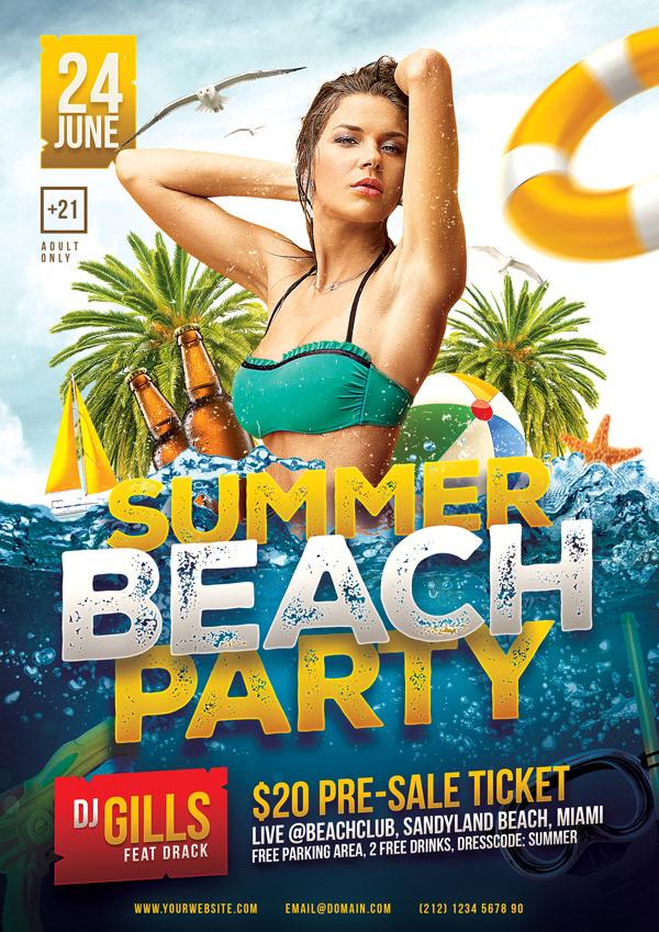 Summer Beach Party Flyer Template on Wacom Gallery