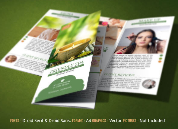Spa Resort Tri Fold Brochure Template on Behance - spa brochure