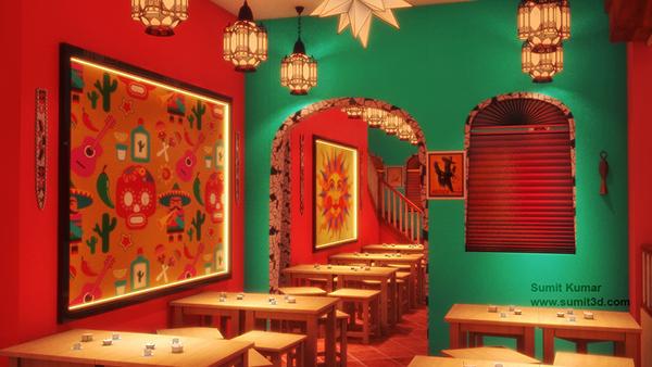 3d Wallpaper For Bedroom Walls Mexican Restaurant 3d Interior Visualization On Behance