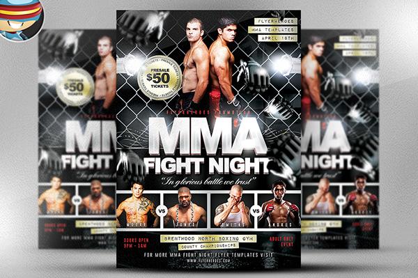 MMA Fight Night Flyer Template on Behance