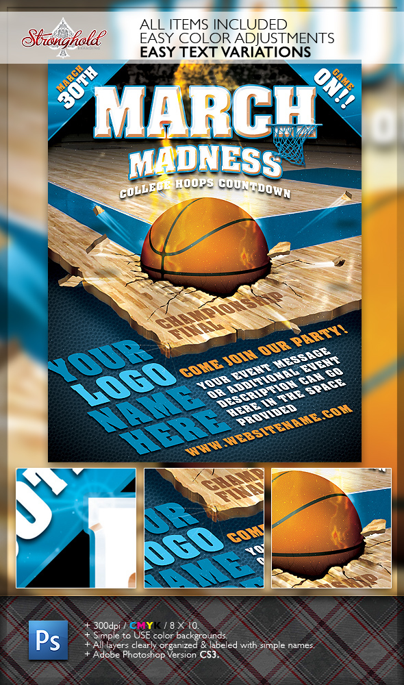 March Madness Basketball Flyer Template on Behance - basketball flyer example