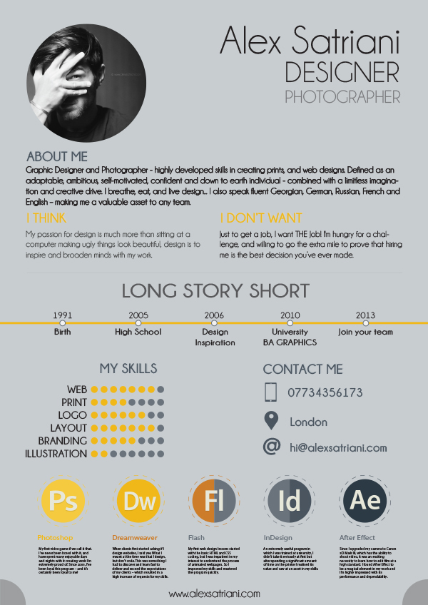 Alex Graphic Design CV on Behance - Resume For Graphic Designer