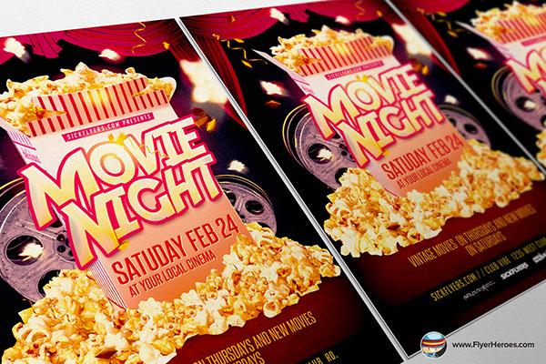 Movie Night Flyer Template on Behance
