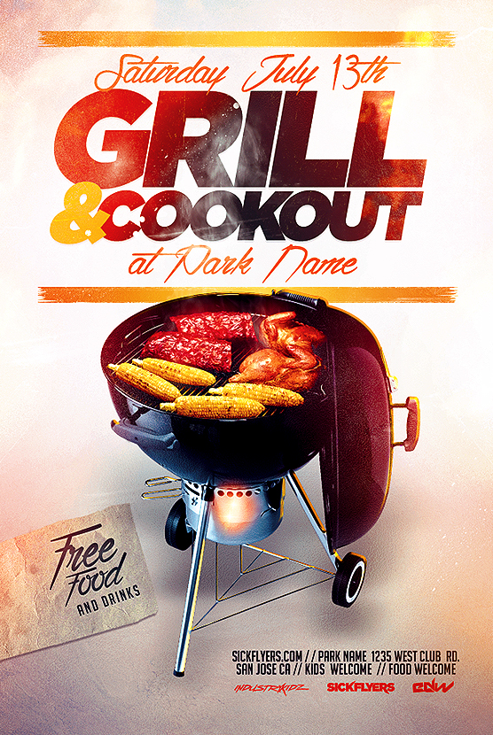 BBQ COOKOUT FLYER TEMPLATE on Behance - bbq flyer