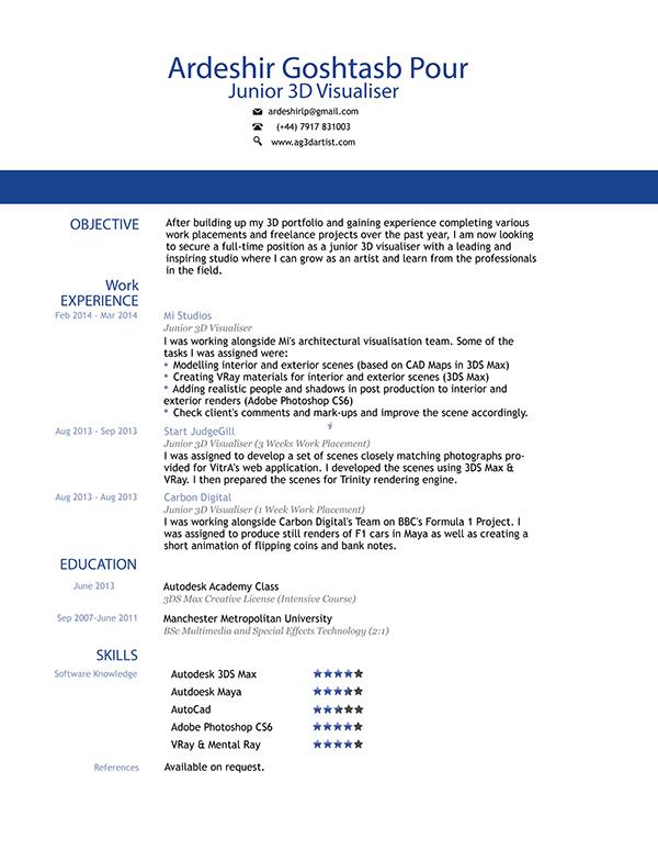 Sample resume for 3d animator