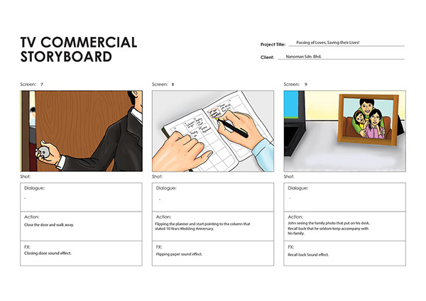 TV Commercial Storyboard for Portable Fire Extinguisher on Student Show