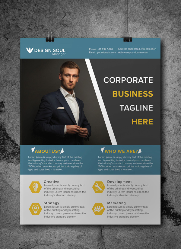Free A4 Corporate Flyer Template on Behance - corporate flyer template