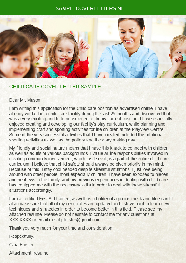 Child Care Cover Letter Sample on Pantone Canvas Gallery