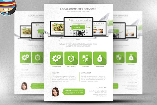 Computer Services Flyer Template on Behance