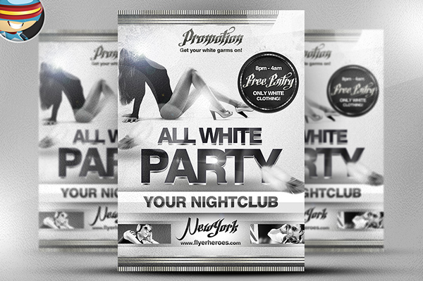 All White Party PSD Flyer Template on Behance - black and white flyer template