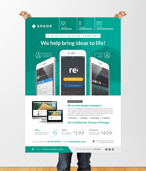 Design Services Flyer/Poster Template (Web/App/Graphic) on Behance - web flyer