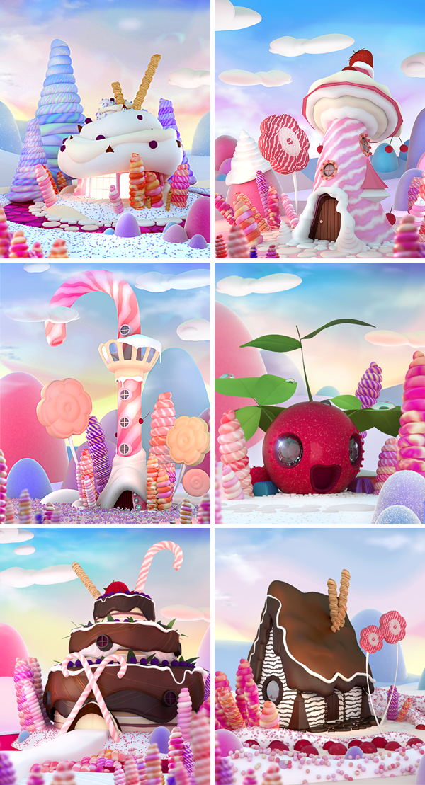 Blender Francais Candy Houses On Behance