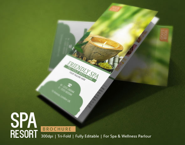 Spa Resort Tri Fold Brochure Template on Behance