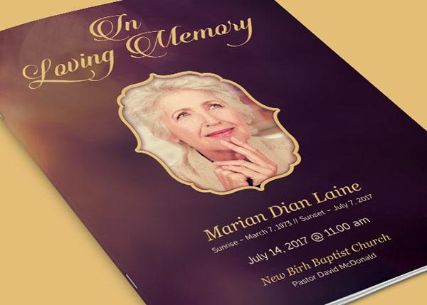 In Loving Memory Funeral Program Template on Behance