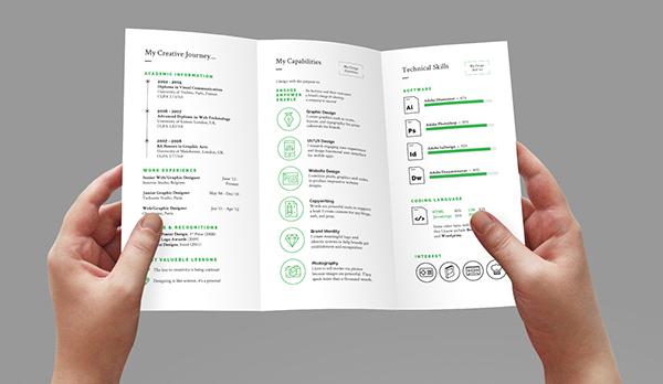 Stellar Tri-fold Resume CV on Behance - Tri Fold Resume