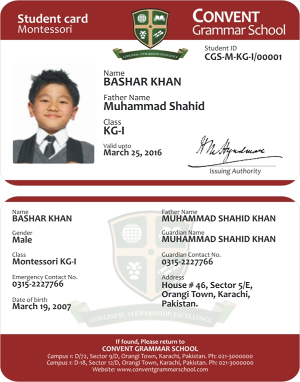 ID Cards for Convent Grammer School on Student Show
