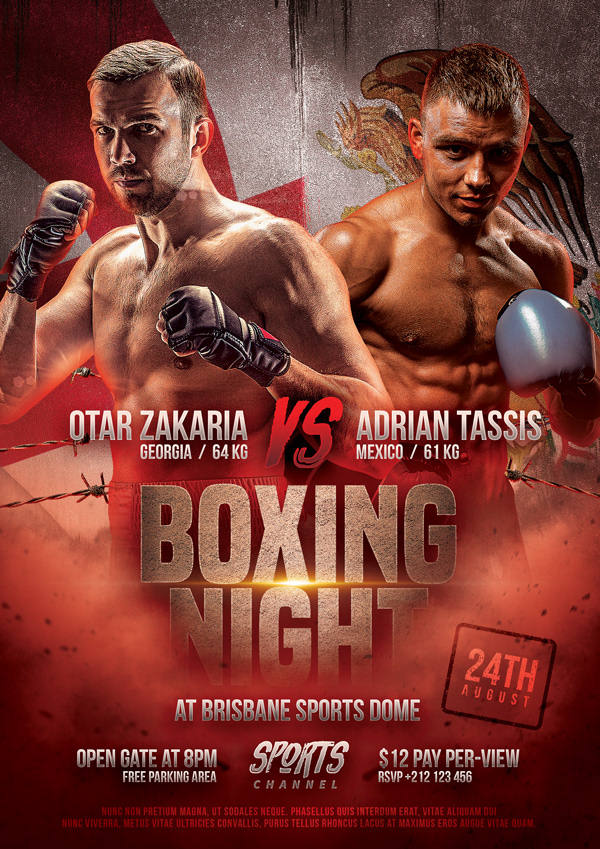 Boxing Match Flyer Template on Pantone Canvas Gallery