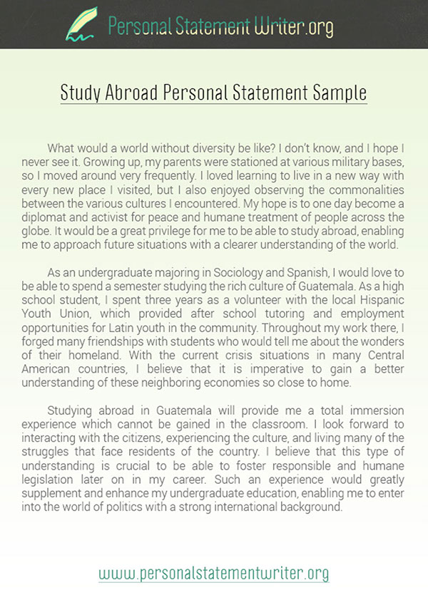 Study Abroad Personal Statement Sample on Pantone Canvas Gallery