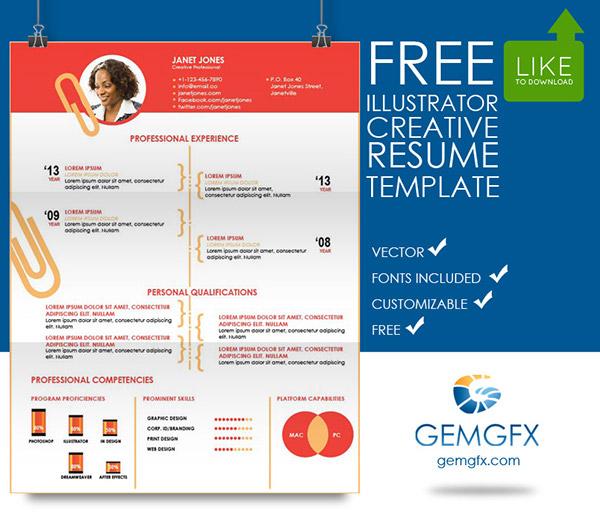 Simple Illustrator Resume Template (FREE Download) on Behance