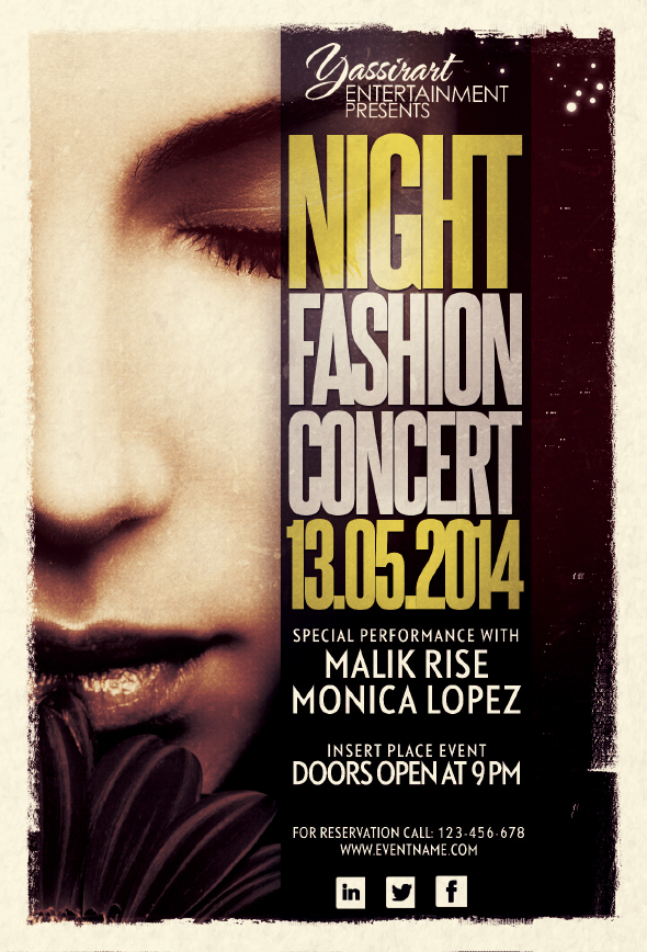 Night Fashion Concert Flyer Template on Behance - music flyer template