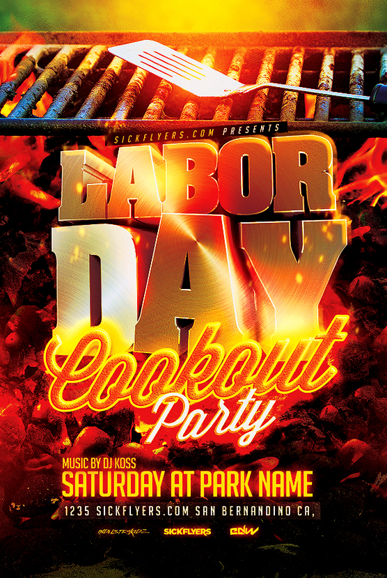 Labor Day Cookout Flyer Template PSD on Behance - labour day flyer template