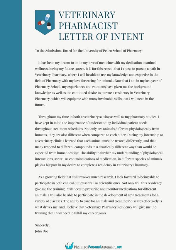 Veterinary Pharmacist Letter of Intent Sample on Pantone Canvas Gallery