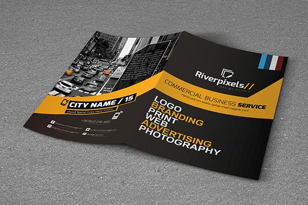 Modern A4 Bi-Fold Brochure Template on Student Show - sample bi fold brochure