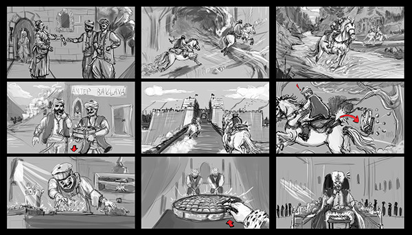 Baklava commercial storyboard on Behance - commercial storyboards