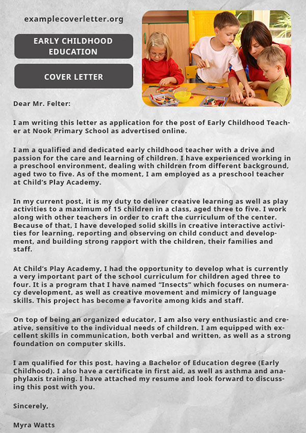 Cover Letter Early Childhood Education on Pantone Canvas Gallery