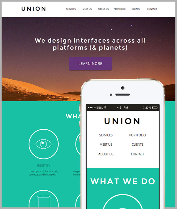 Union - Adobe Muse Website Template on Behance
