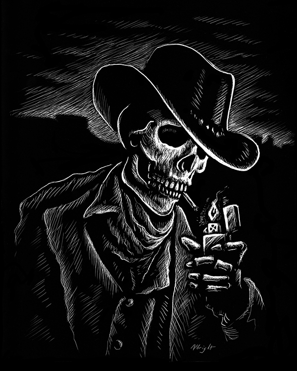 Jack Skellington Iphone Wallpaper Southern Skeletal Smoker Scratchboard On Behance