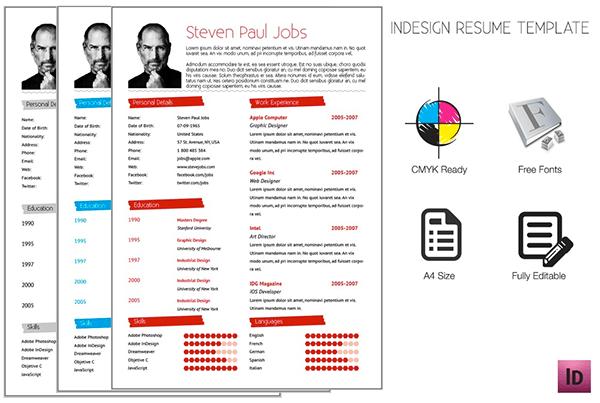free cv template adobe indesign 50 beautiful free resume cv templates in ai indesign adobe indesign - Adobe Resume Template