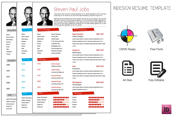 behance cv template indesign