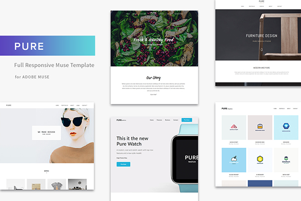 Pure Minimal Portfolio Wordpress  Adobe Muse Template on Behance
