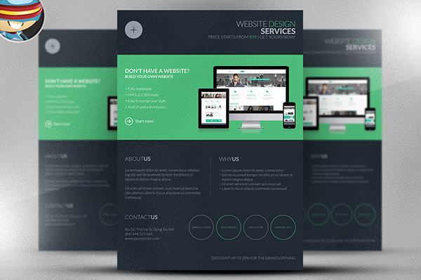 Dark Web Design Services Flyer Template on Behance - web flyer template