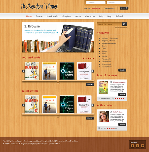 Website design for an online library management system on Behance