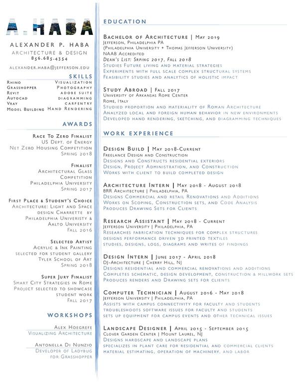 Resume -- Spring 2018 Alexander P Haba on PhilaU Portfolios
