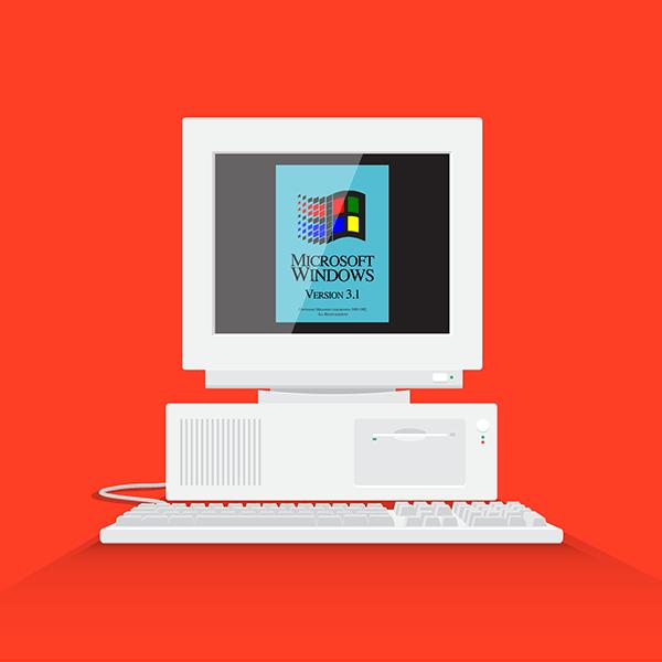 90s Computer Flat Design on Behance