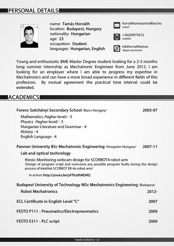 Curriculum Vitae English Engineer - mechatronics engineer sample resume
