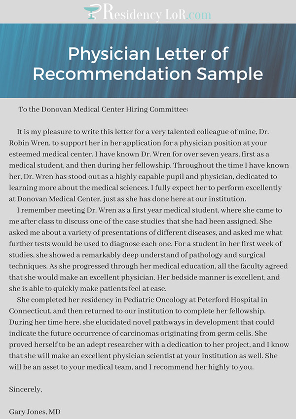 Physician Letter of Recommendation Example on Pantone Canvas Gallery
