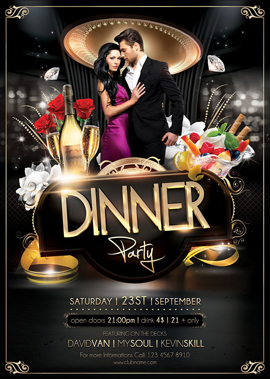 Dinner Party Flyer Template on Behance - Dinner Flyer