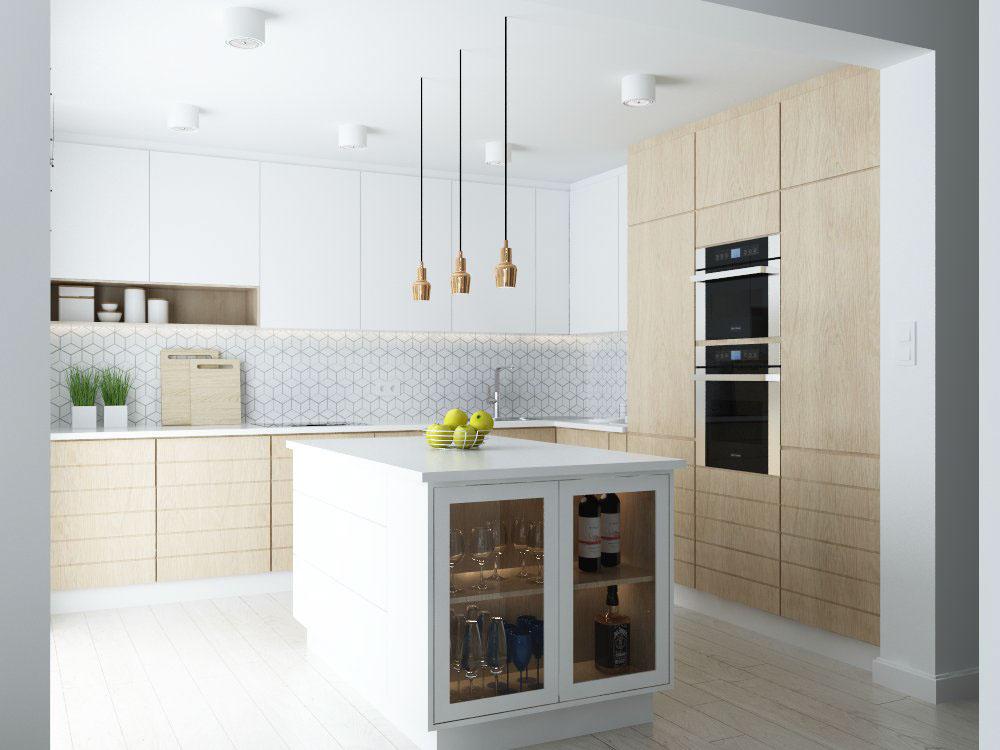 Μοντέρνα κουζίνα με ντουλάπια από λευκό ακρυλικό με ενσωματωμένες - ideen für kleine küchen